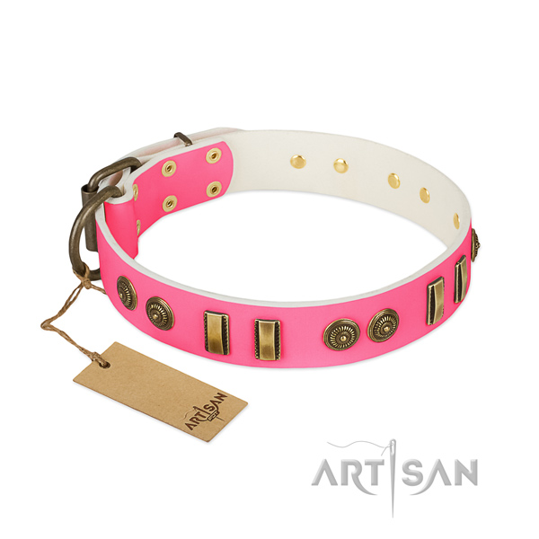 Inimitable full grain natural leather collar for your canine