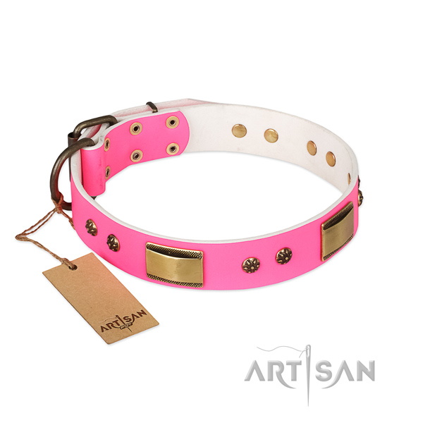 Handmade full grain leather collar for your pet