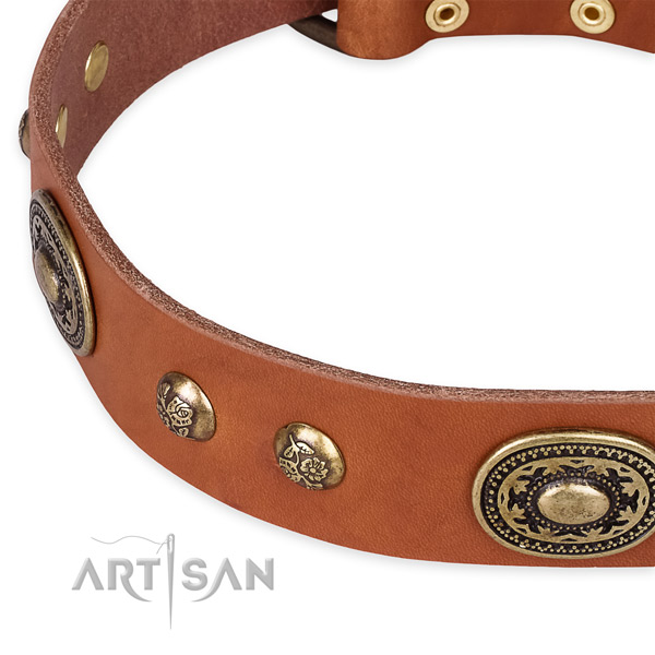 Handcrafted full grain genuine leather collar for your impressive pet