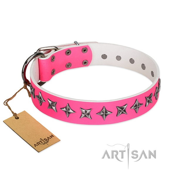 Strong full grain natural leather dog collar with stylish design decorations