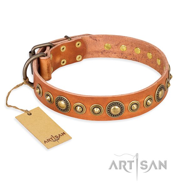 Gentle to touch leather collar handcrafted for your dog