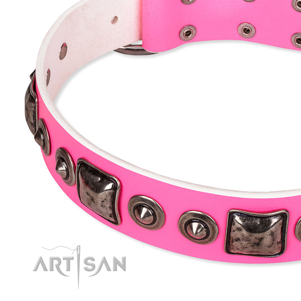 Flexible full grain leather dog collar created for your handsome four-legged friend