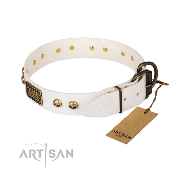 Easy to adjust full grain leather dog collar for walking your four-legged friend