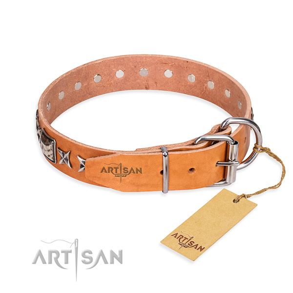 Quality decorated dog collar of full grain genuine leather