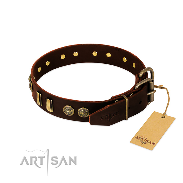 Durable fittings on full grain genuine leather dog collar for your pet