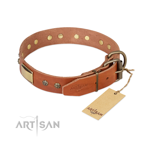 Full grain natural leather dog collar with strong traditional buckle and decorations