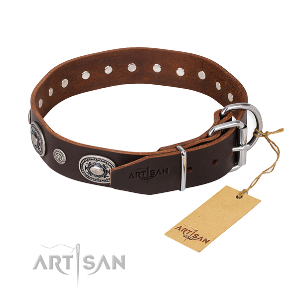 Top notch full grain natural leather dog collar crafted for comfy wearing