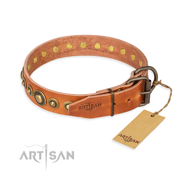 Reliable genuine leather dog collar handcrafted for handy use