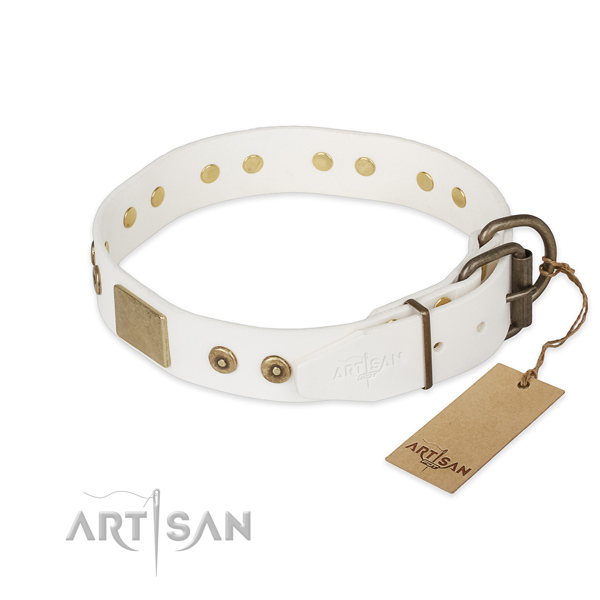 Natural leather dog collar with rust resistant traditional buckle and studs