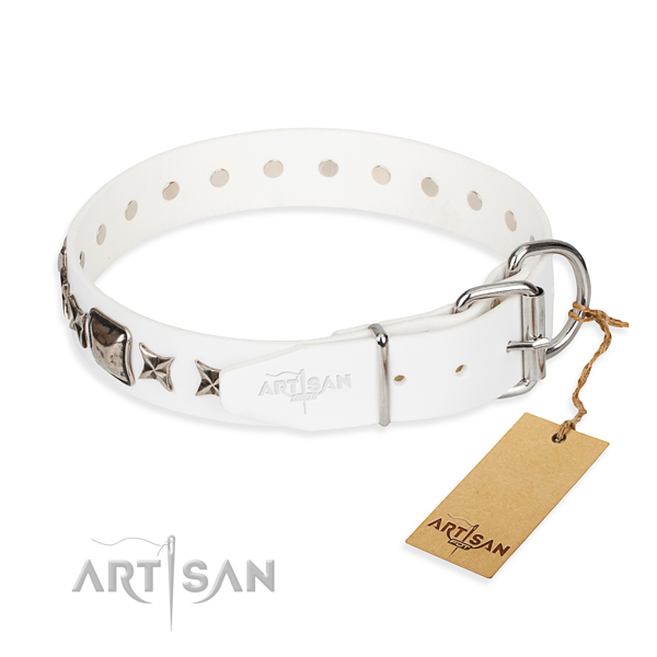 Durable adorned dog collar of full grain natural leather