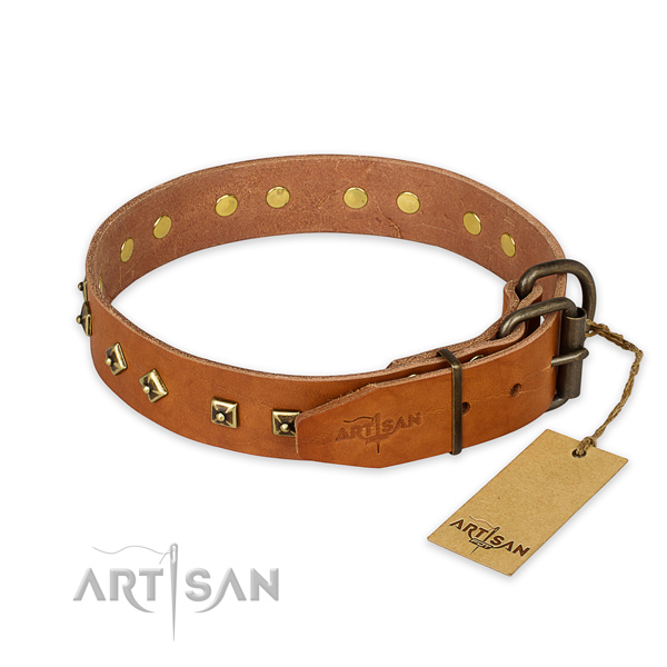 Rust resistant traditional buckle on full grain natural leather collar for basic training your dog