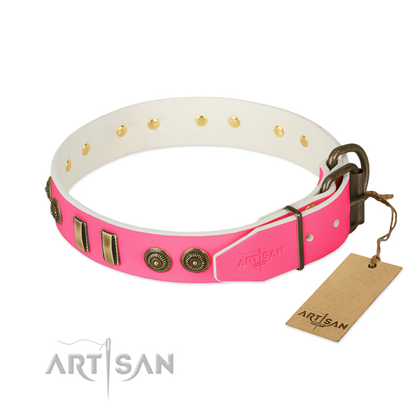 Strong buckle on genuine leather dog collar for your pet