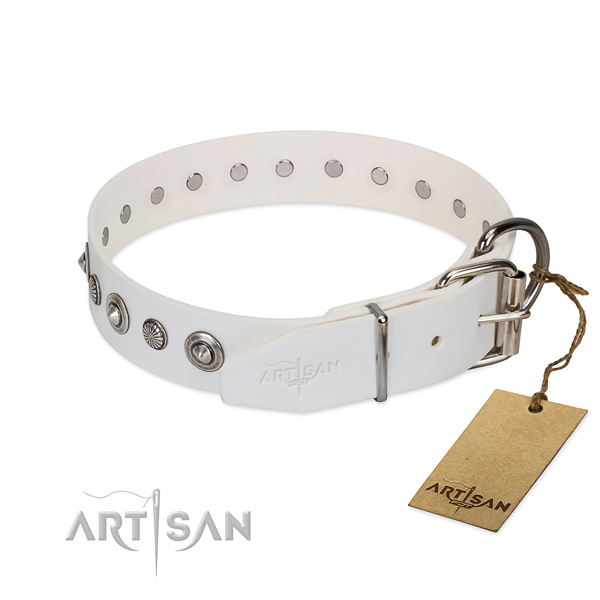 Strong natural leather dog collar with stylish adornments
