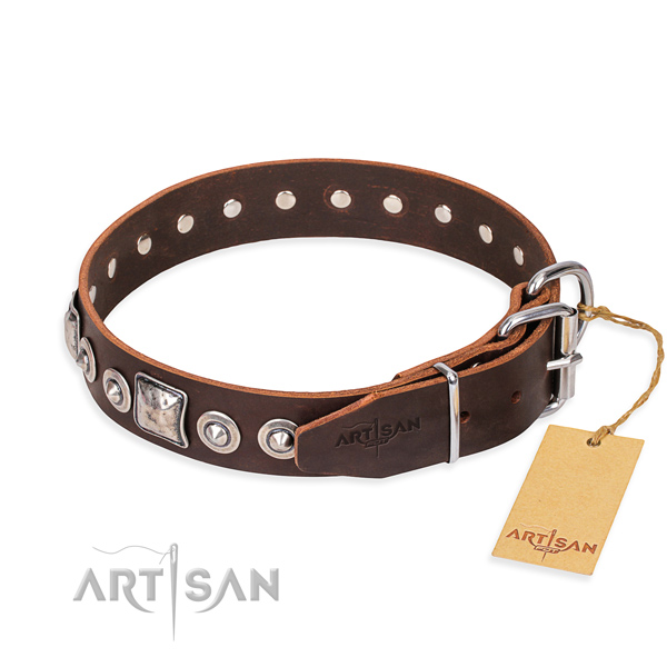 Full grain natural leather dog collar made of best quality material with rust-proof studs