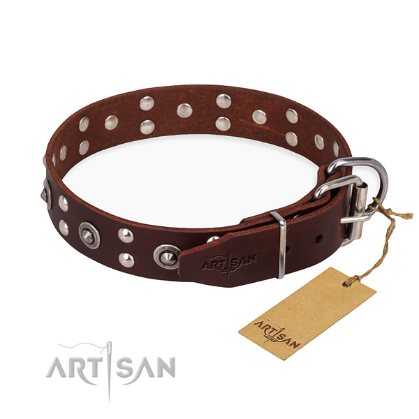 Corrosion resistant D-ring on genuine leather collar for your beautiful canine