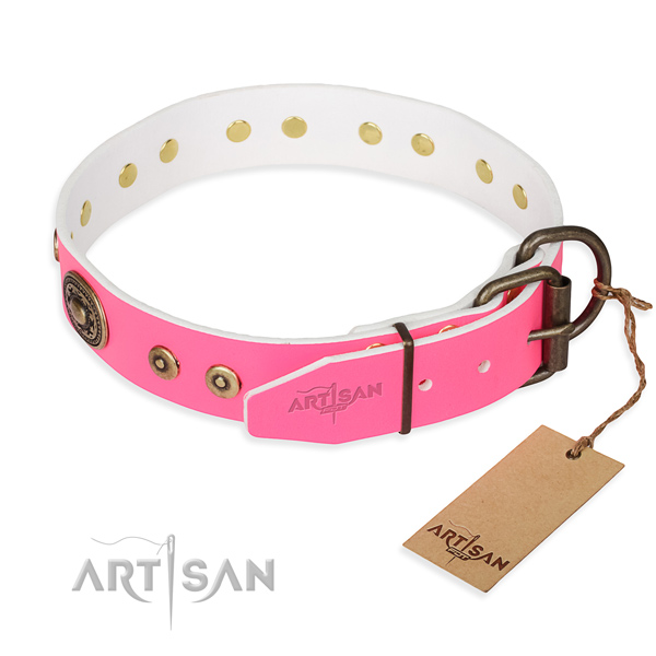 Full grain natural leather dog collar made of flexible material with rust resistant decorations