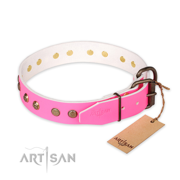 Reliable hardware on genuine leather collar for your impressive canine