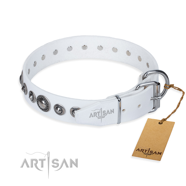 Natural genuine leather dog collar made of quality material with reliable studs