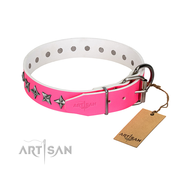 Reliable full grain genuine leather dog collar with incredible decorations