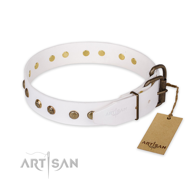 Durable fittings on natural genuine leather collar for your lovely canine