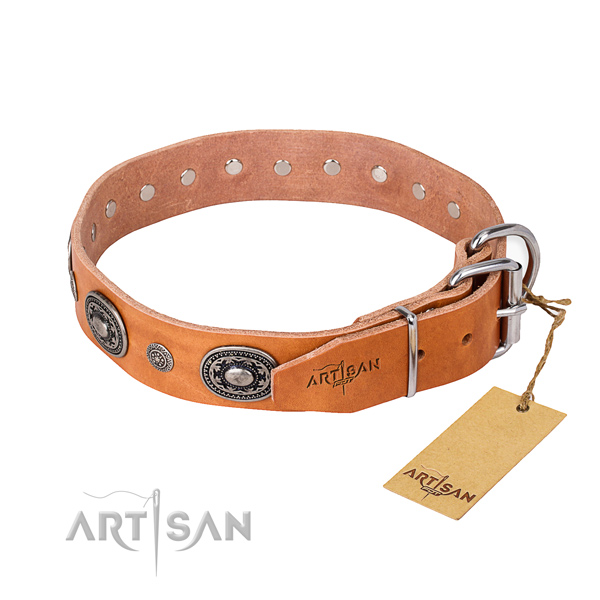 Top notch leather dog collar made for comfy wearing