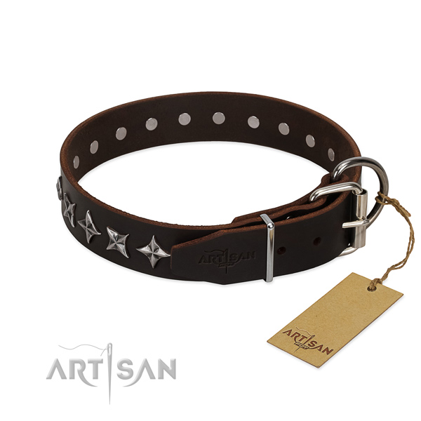 Easy wearing studded dog collar of top quality full grain natural leather