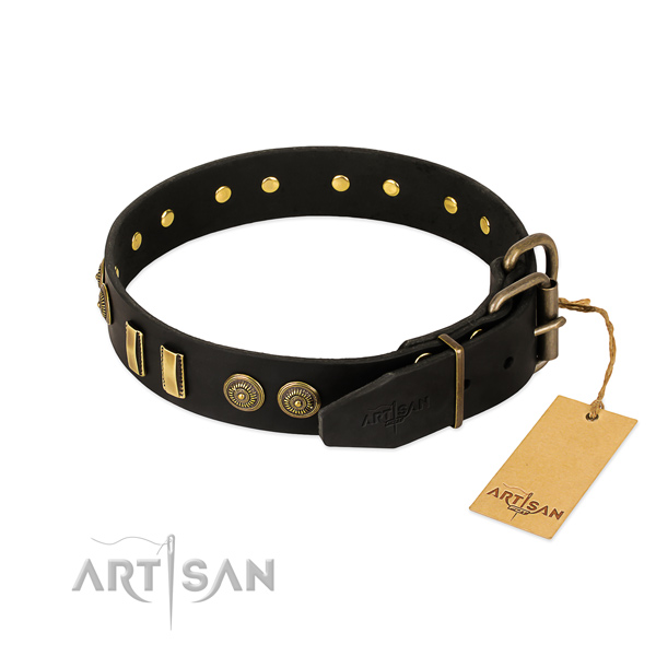 Corrosion proof buckle on full grain leather dog collar for your pet