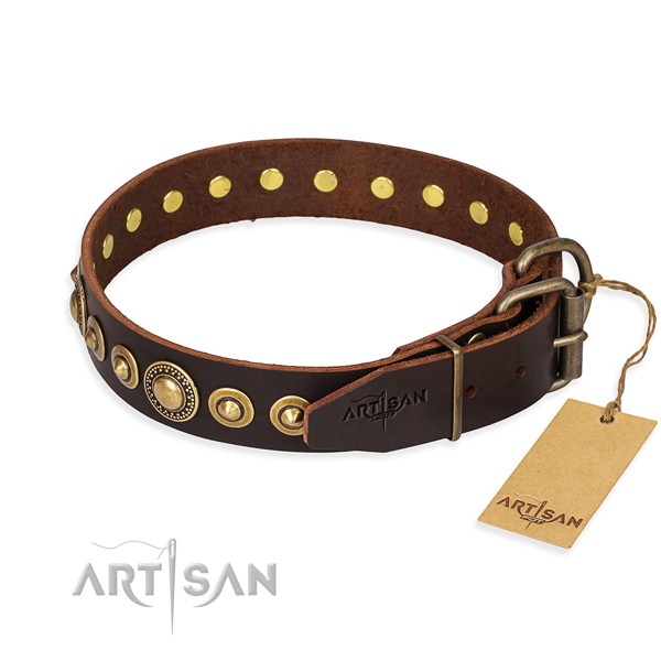 Flexible full grain leather dog collar made for daily walking