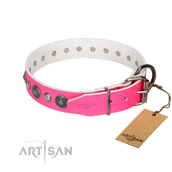 Soft to touch Full grain natural leather dog collar with corrosion resistant traditional buckle