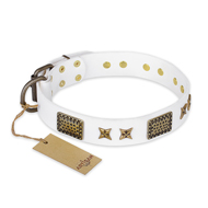 """Hour of Triumph"" FDT Artisan White Leather Pitbull Collar"