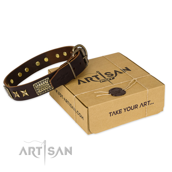 Durable D-ring on genuine leather collar for your handsome doggie