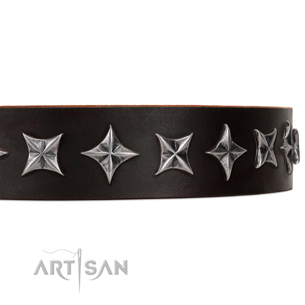 Daily use embellished dog collar of reliable full grain genuine leather