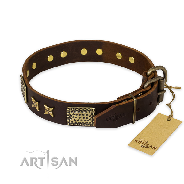 Strong hardware on natural genuine leather collar for your beautiful canine