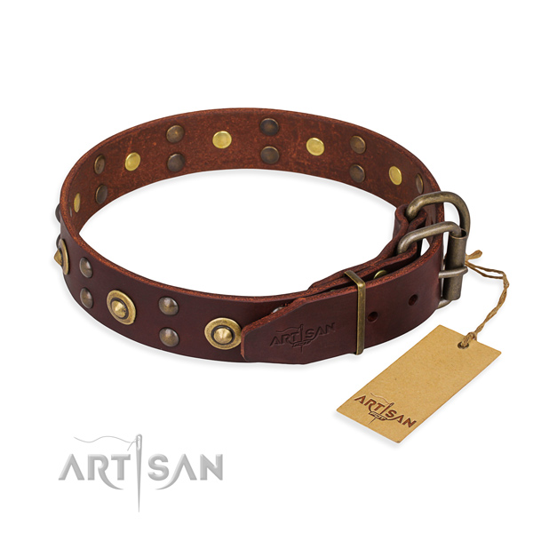 Corrosion proof hardware on full grain natural leather collar for your impressive pet