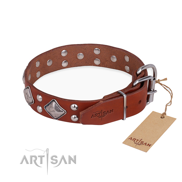 Full grain leather dog collar with exquisite reliable studs