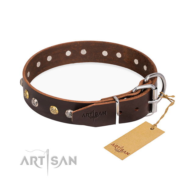 Durable genuine leather dog collar made for fancy walking