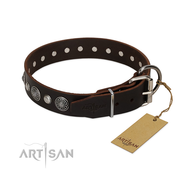 Reliable full grain genuine leather dog collar with extraordinary decorations