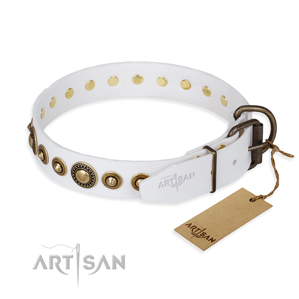 Soft genuine leather dog collar crafted for stylish walking