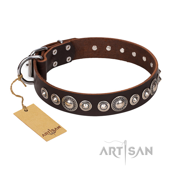 Full grain natural leather dog collar made of top rate material with corrosion proof decorations