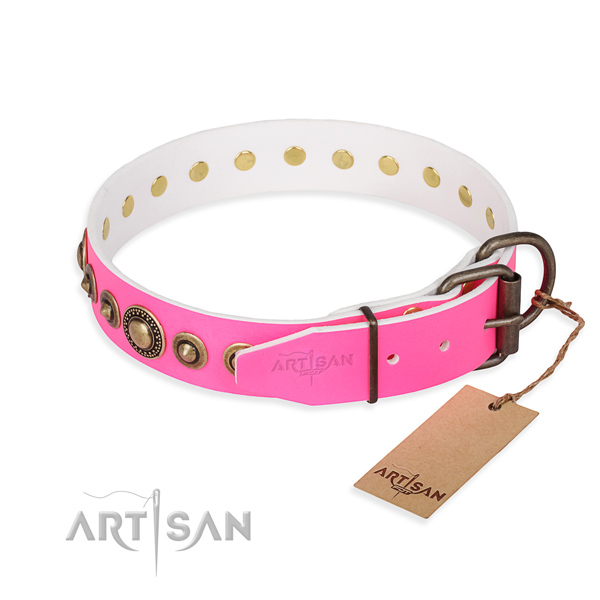 High quality genuine leather dog collar handmade for basic training