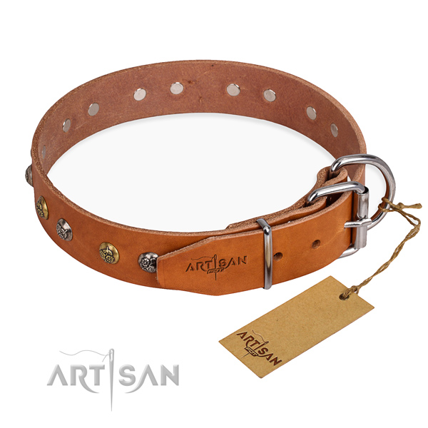 Full grain genuine leather dog collar with impressive durable decorations