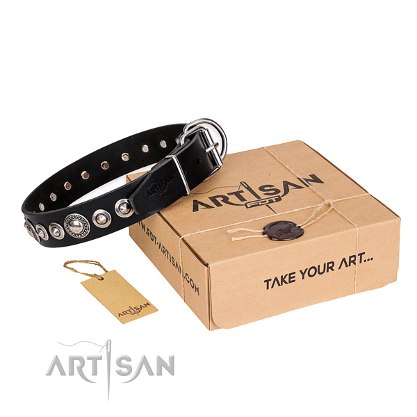 Finest quality full grain natural leather dog collar