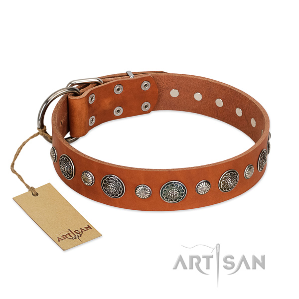 Strong Full grain natural leather dog collar with rust-proof traditional buckle