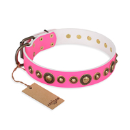 """Pink Gloss"" FDT Artisan Leather Pitbull Collar with Old-Bronze Plated Circles and Studs"