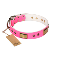 """Pink Daydream"" FDT Artisan Pink Leather Pitbull Collar with Old Bronze Look Plates and Studs"