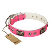 """Fashion Skulls"" FDT Artisan Pink Leather Pitbull Collar with Old Silver Look Plates and Skulls"