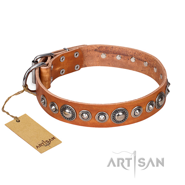 Natural genuine leather dog collar made of gentle to touch material with durable buckle