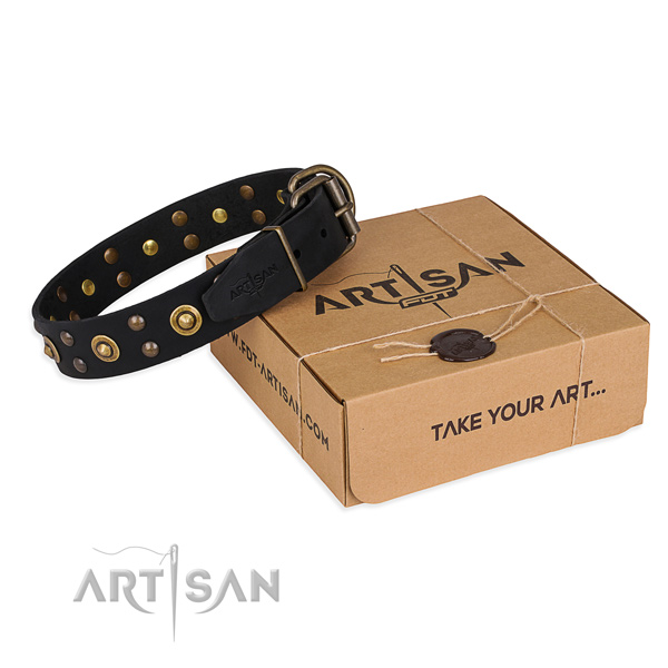 Reliable hardware on full grain genuine leather collar for your lovely canine