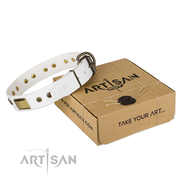 Convenient full grain natural leather collar for your lovely four-legged friend