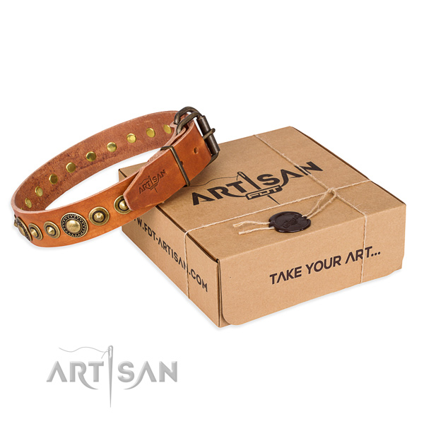 Soft to touch full grain natural leather dog collar handmade for easy wearing